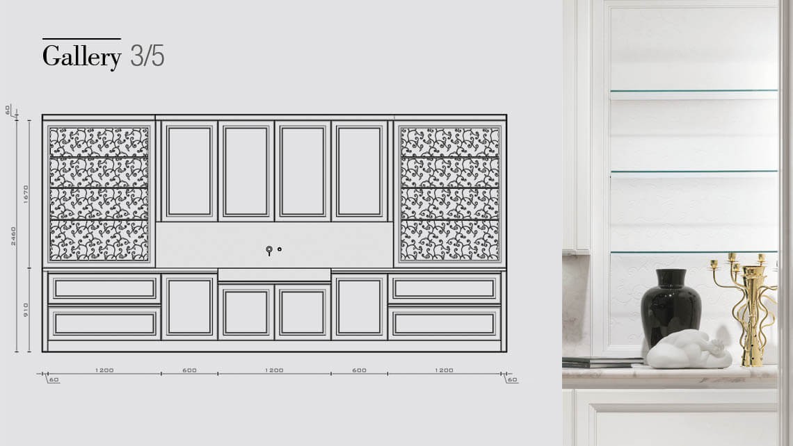 Gallery Wall Panelling Drawing