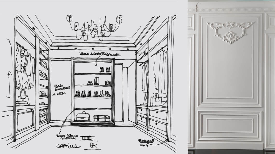 Roma Wall Panelling Drawing